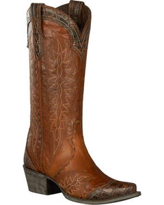 Lane for Double D Ranch Brown Ramirez Croc Print Cowgirl Boots - Snip Toe , , hi-res