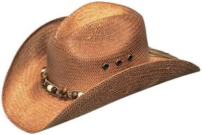 Blazin Roxx Wooden Beaded Hat Band Raffia Straw Cowgirl Hat, Rust, hi-res