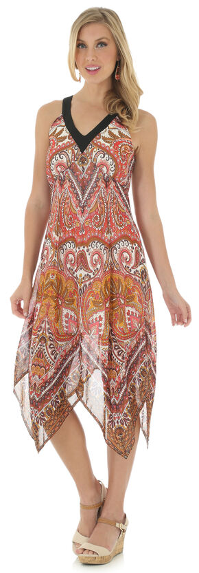 Wrangler Women's Sleeveless Handkerchief Hem Print Dress, Copper, hi-res