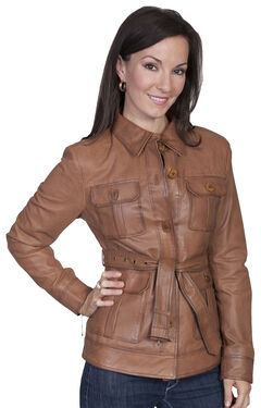 Scully Women's Belted Lamb Leather Jacket, , hi-res