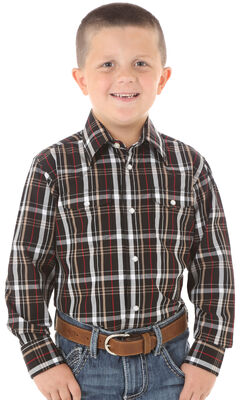 Wrangler Boys' Red & Black Plaid Long Sleeve Shirt, , hi-res