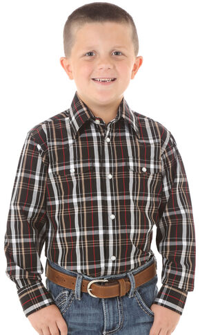 Wrangler Boys' Red & Black Plaid Long Sleeve Shirt, Black, hi-res