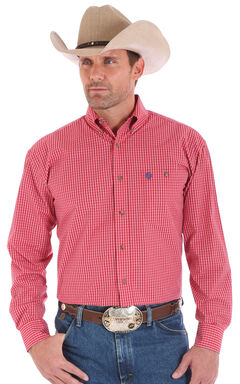 Wrangler Men's Red One Pocket Long Sleeve George Strait Plaid Shirt, , hi-res