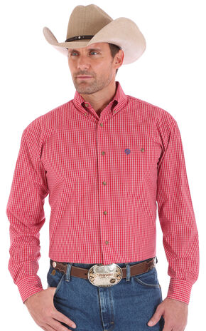 Wrangler Men's Red One Pocket Long Sleeve George Strait Plaid Shirt, Red, hi-res