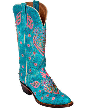 Ferrini Turquoise Jubilee Studded Cowgirl Boots - Medium Toe, Turquoise, hi-res