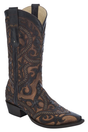 Corral Embroidered Cowboy Boots - Snip Toe, Tan, hi-res