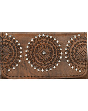 American West Womens Kachina Spirit Tri-Fold Wallet, Brown, hi-res