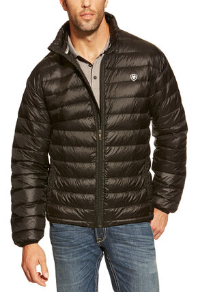 Ariat Men's Ideal Down Quilted Jacket, Black, hi-res