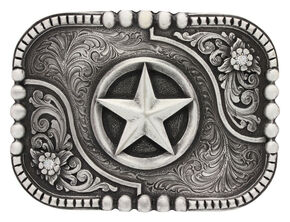 Montana Silversmiths Classic Impressions Lone Star Attitude Belt Buckle, Silver, hi-res
