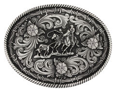 Montana Silversmiths Classic Impressions Team Roper Attitude Belt Buckle, , hi-res