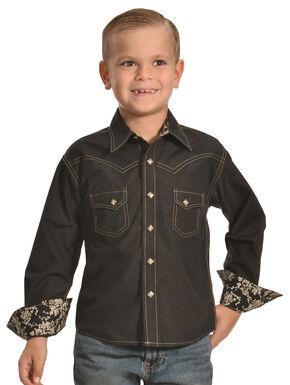 Crazy Cowboy Boys' Western Snap Shirt, Black, hi-res