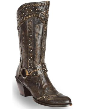 Dan Post Women's Sexy Back Studded Fashion Western Boots - Round Toe, Black, hi-res