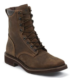 """Justin Stampede 8"""" Lace-Up Waterproof Work Boots - Composition Toe, Barnwood, hi-res"""