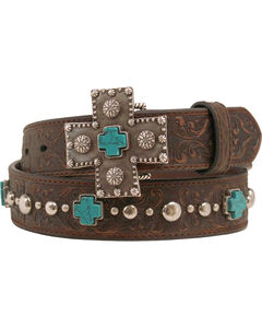 Ariat Silver and Turquoise Cross Belt, , hi-res