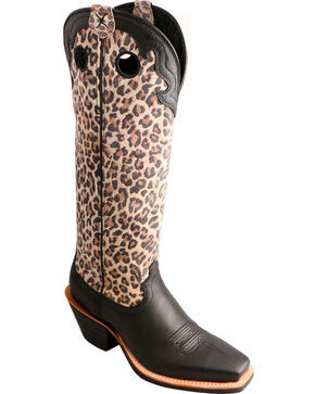 "Twisted X 16"" Leopard Print Buckaroo Cowgirl Boots - Square Toe, Black, hi-res"