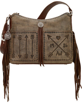 American West Cross My Heart Rustic Brown Zip Top Shoulder Bag, Rustic Brn, hi-res