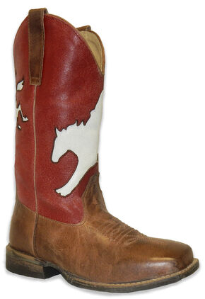 Roper Boys' Broc Rider Inlay Boot - Wide Square Toe, Brown, hi-res
