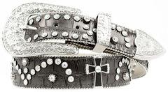 Nocona Cross Concho Studded Leather Belt, , hi-res
