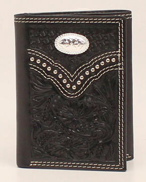 Nocona Floral Embossed Concho Trifold Wallet, Black, hi-res