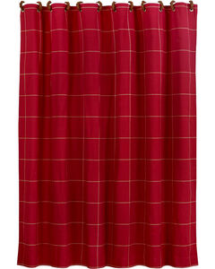 "Red window pane shower curtain with button detail, 72""x72"", , hi-res"