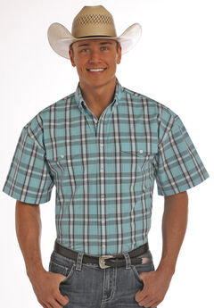 Panhandle Slim Men's Turquoise Poplin Plaid Short Sleeve Shirt, Turquoise, hi-res