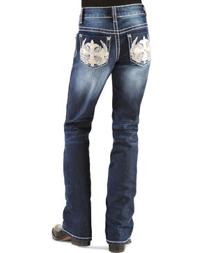 Red Ranch Girls' Winged Cross Stitch Bootcut Jeans - 4-6X, Denim, hi-res