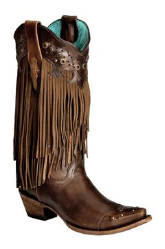 Corral Sierra Fringe & Studded Cowgirl Boots - Snip Toe, , hi-res