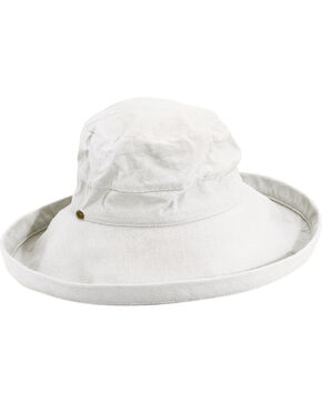 Scala Women's White Cotton Wide Brim Sun Hat, White, hi-res