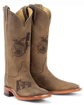 Justin Texas FFA Future Farmers of America Boots - Square Toe, Tan, hi-res