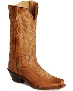 Old West Distressed Leather Cowgirl Boots - Snip Toe, , hi-res
