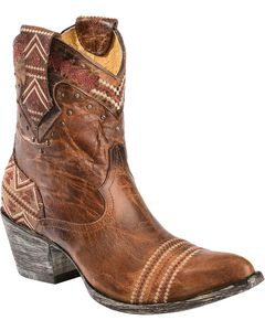 Old Gringo Yippee Ki Yay Alexa Aztec Embroidered Short Cowgirl Boots - Pointed Toe, , hi-res