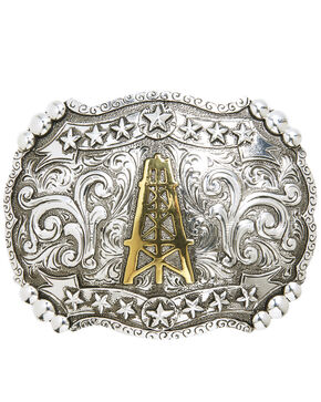 AndWest Men's Oil Derrick & Stars Belt Buckle, Two Tone, hi-res