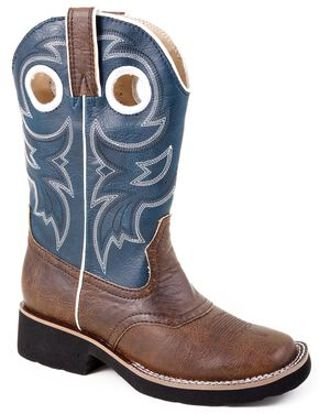 Roper Boys' Blue Cowboy Boots, Brown, hi-res