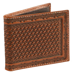 Cody James Men's Basketweave Embossed Wallet, Brown, hi-res