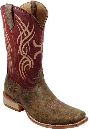 Twisted X Red Hooey Cowboy Boots - Square Toe, Brown, hi-res