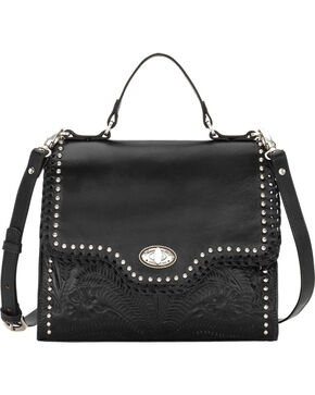 American West Women's Black Hidalgo Top Handle Convertible Flap Bag , Black, hi-res
