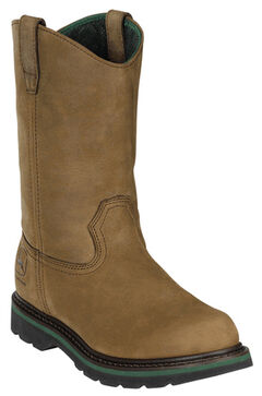 John Deere Men's Leather Pull-On Work Boots - Round Toe, , hi-res