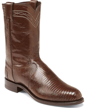 Justin Men's Chocolate Iguana Lizard Roper Boots - Round Toe, Chocolate, hi-res