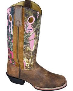 Smoky Mountain Tupelo Pink Camo Cowgirl Boots - Square Toe, , hi-res