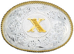 Montana Silversmiths Engraved Initial X Western Belt Buckle, , hi-res