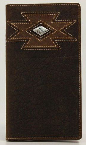Ariat Diamond Cross Concho Rodeo Wallet, Med Brown, hi-res