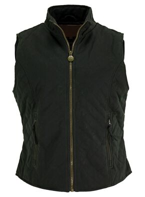 Outback Trading Co. Quilted Oilskin Vest, Green, hi-res