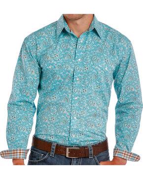 Rough Stock Men's Turquoise Paisley Print Long Sleeve Shirt , Turquoise, hi-res