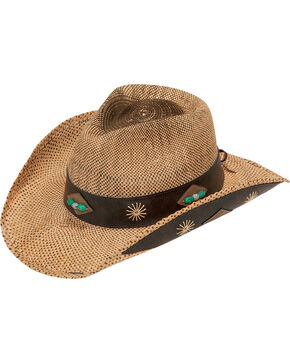 Blazin Roxx Raffia Straw Leather Trim Cowgirl Hat, Natural, hi-res