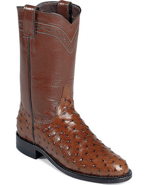 Justin Full Quill Ostrich Roper Boots - Medium Toe, Brown, hi-res