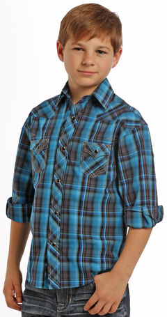 Rock and Roll Cowboy Boys' Turquoise Plaid Western Snap Shirt , , hi-res