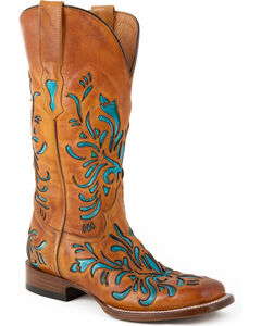 Stetson Talon Turquoise Underlay Cowgirl Boots - Square Toe, , hi-res