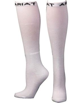 Ariat Men's Over the Calf White Boot Socks - 2 Pack, White, hi-res