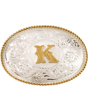"Montana Silversmiths Initial ""K"" Buckle, Silver, hi-res"