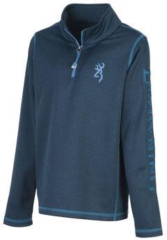 Browning Boys' Blue Pitch Quarter Zip Sweatshirt, Blue, hi-res